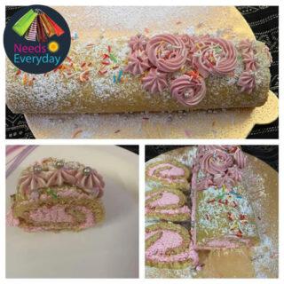 Vanilla swiss roll cake